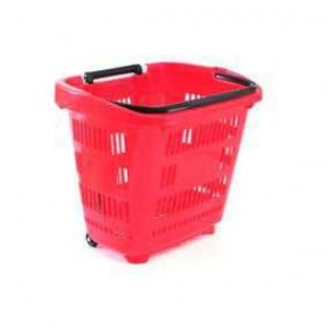 Корзина-тележка на колесах пластиковая
